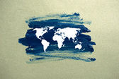 Painted world map on paper — Stock Photo