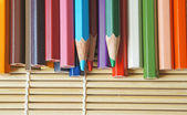Color pencils, on wooden background — Stock Photo