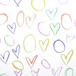 Draw hearts shape on white paper background — Stock Photo #51361735