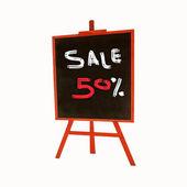 50-percent sale title written on standing board — Stock Photo