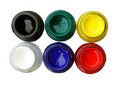 Top view of opened bottles color isolate on white background — Stock Photo