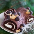 Traditional Christmas Yule Log cake — Stock Photo