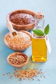 Nasiona lnu i olej lniany — Zdjęcie stockowe