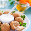 Chicken croquettes, breaded bran, selective focus — Stock Photo