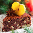 Piece of chocolate apple cake, selective focus — Stock Photo