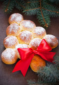 Christmas tree bread buns, selective focus — Stock Photo