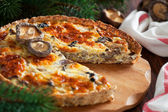 Tart with cabbage and mushrooms, selective focus — Stock Photo
