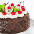 Chocolate cake with whipped cream and glazed cherries — Stock Photo