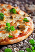 Pizza with seafood and spicy sauce — Stock Photo