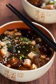 Miso soup with shiitake mushrooms, tofu, wakame seaweed, noodles shirataki — Stock Photo