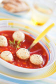 Tomato soup with vegetables and turkey meatballs — Stock Photo
