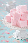 Homemade vanilla and rosewater marshmallows, selective focus — Stock Photo