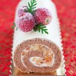 Swiss roll with cinnamon and apples — Stock Photo