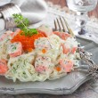 Shirataki noodles with smoked salmon — Stock Photo