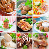 Collage of different chicken dishes — Stock Photo