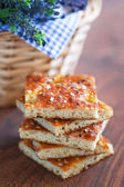 Focaccia from bran oatmeal with dried lavender — Stock Photo