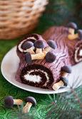 Traditional Christmas Yule Log cake — Stock Photo