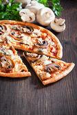 Vegetarian pizza with mushrooms — Stock Photo
