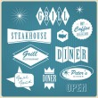 Vintage restaurant logo, badges and labels — ストックベクタ