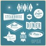 Vintage restaurant logo, badges and labels — Stock Vector