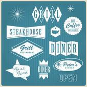 старинный ресторан логотип, значки и наклейки — Cтоковый вектор