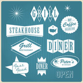 Vintage restaurant logo, badges and labels — Stok Vektör