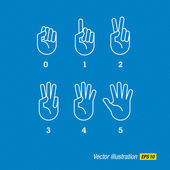 Hands, finger and numbers — Stock Vector