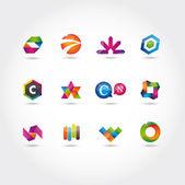 Conjunto de iconos y logotipo — Vector de stock
