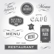 Stock Vector: Vintage ornaments and signs french restaurant
