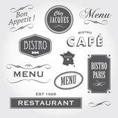 Vintage ornamenten en tekent frans restaurant — Stockvector