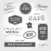 Vintage ozdoby a podepisuje ve francouzské restauraci — Stock vektor