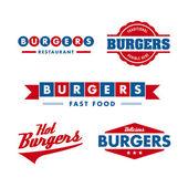 Vintage snabbmat restaurang logotyp set — Stockvektor