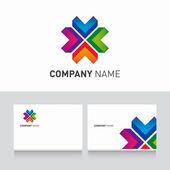 Logo coloré et business card template vecteur — Vecteur