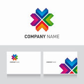 Logo coloré et business card template vecteur — Vecteur