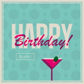 Birthday card for woman with cocktail drink — Cтоковый вектор