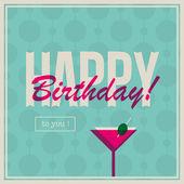 Kadın kokteyl içki için doğum günü kartı — Stok Vektör