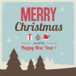 Greeting card, merry christmas and happy new year — Stockvectorbeeld