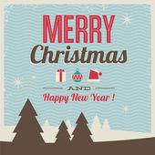 Greeting card, feliz navidad y feliz año nuevo — Vector de stock
