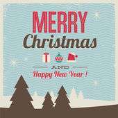 Tebrik kartı, neşeli noel ve mutlu yeni yıl — Stok Vektör