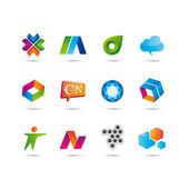 Jeu du logo et des icônes — Vecteur