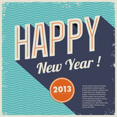 Vintage retro happy new year 2013 — Vettoriale Stock