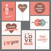 Jour et désherbage des cartes de valentine heureux — Vecteur