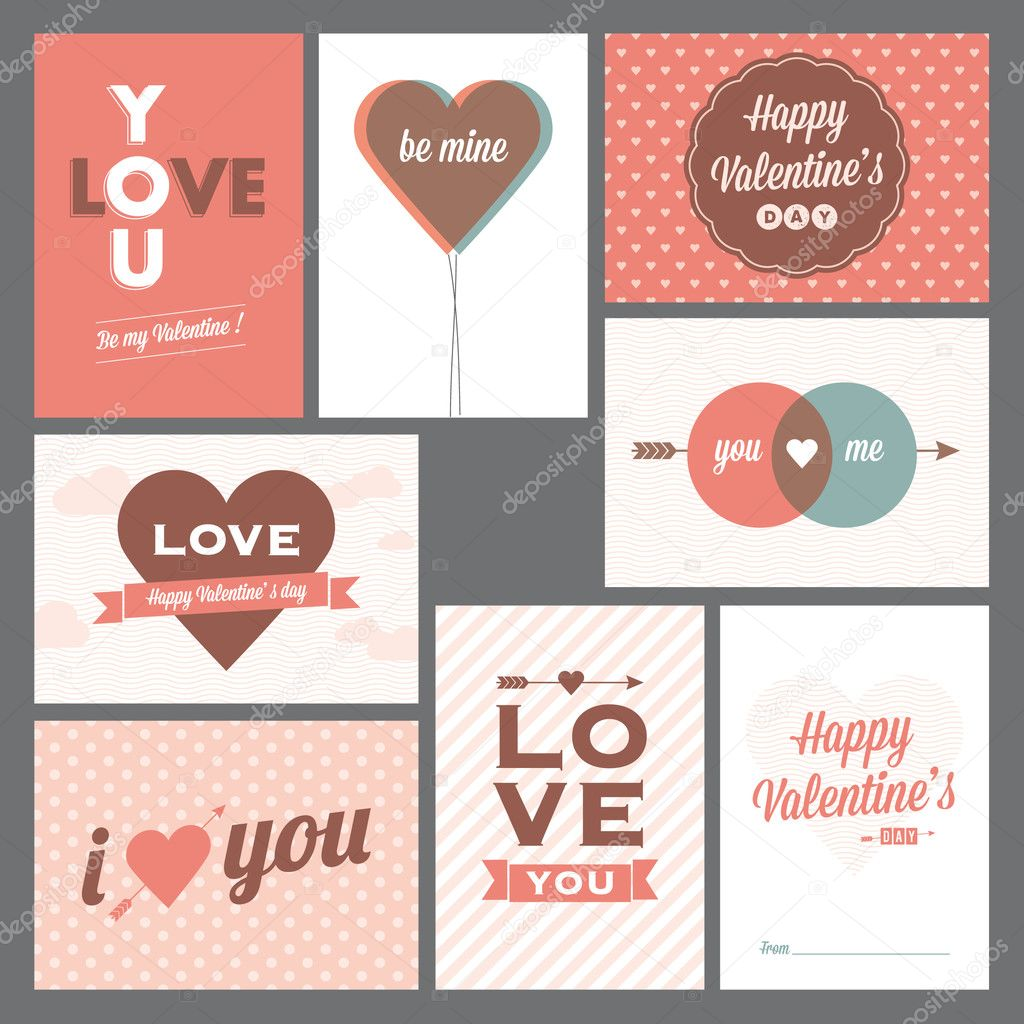 8 elegant and trendy happy valentine's day and weeding cards — Stock Vector #16294655