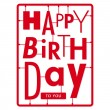 Happy birthday card. Typography letters type font kit — Stock Vector