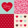 Set of wedding valentine heart pattern background — Stockvektor