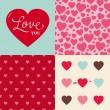 set di sfondo modello di nozze San Valentino cuore — Vettoriale Stock