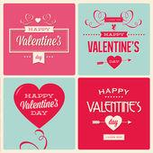 Uppsättning av alla hjärtans dag kortdesign — Stockvektor