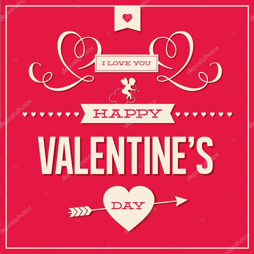 Happy valentines day cards with ornaments, hearts, ribbon, angel and arrow — Stock Vector #17857051