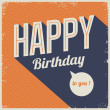 Vintage retro happy birthday card, with fonts — Imagen vectorial