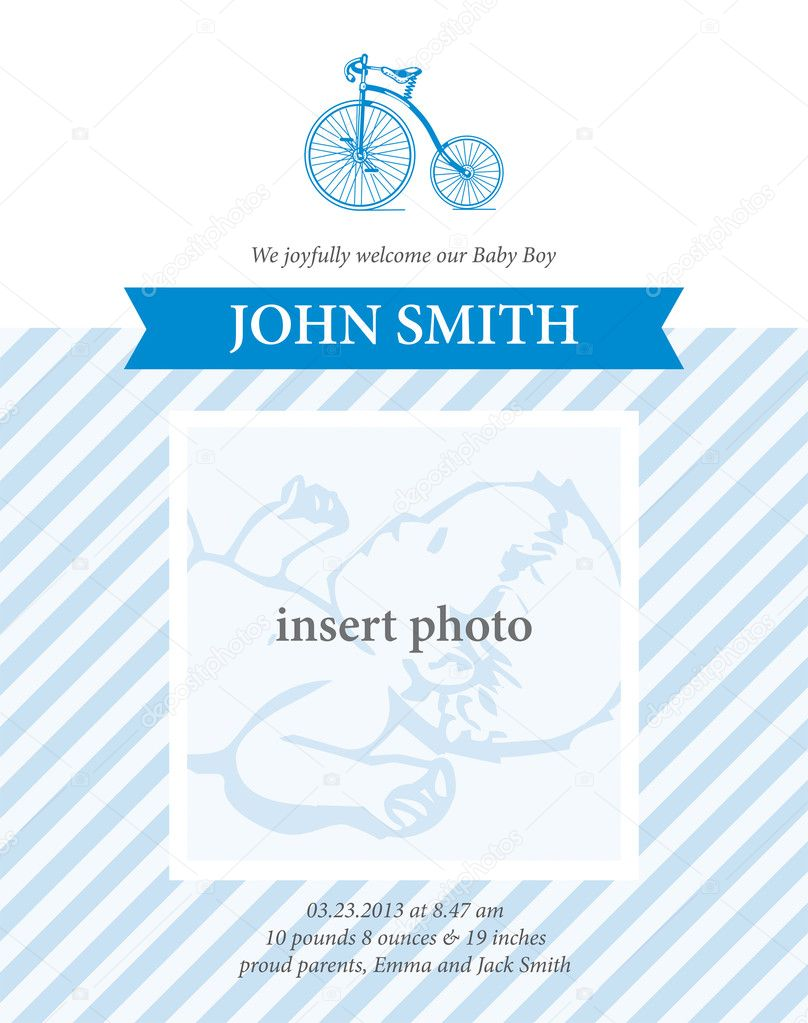 Baby boy birth announcement card template with bicycle – Birth Announcement Card Templates